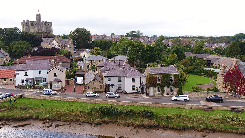 Honeybee Cottage Warkworth aerial view of warkworth castle